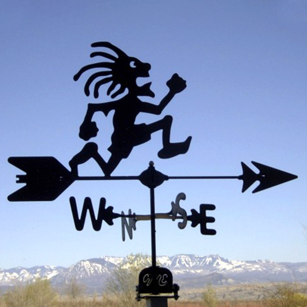 Crazy Kokopelli Silhouette Steel Weathervane