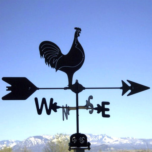 Classic Rooster Silhouette Steel Weathervane