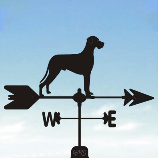 Natural Eared Great Dane Silhouette Steel Weathervane