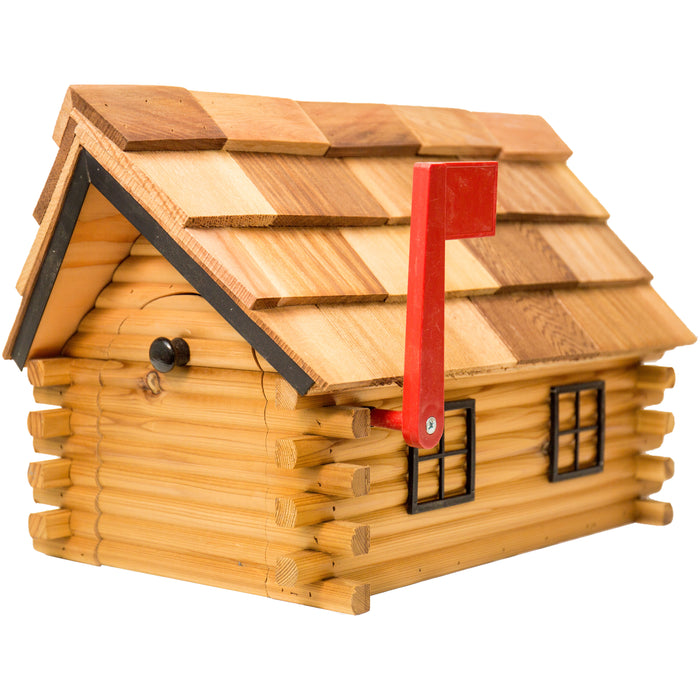 Amish Log Cabin Mailbox with Cedar Shingle Roof
