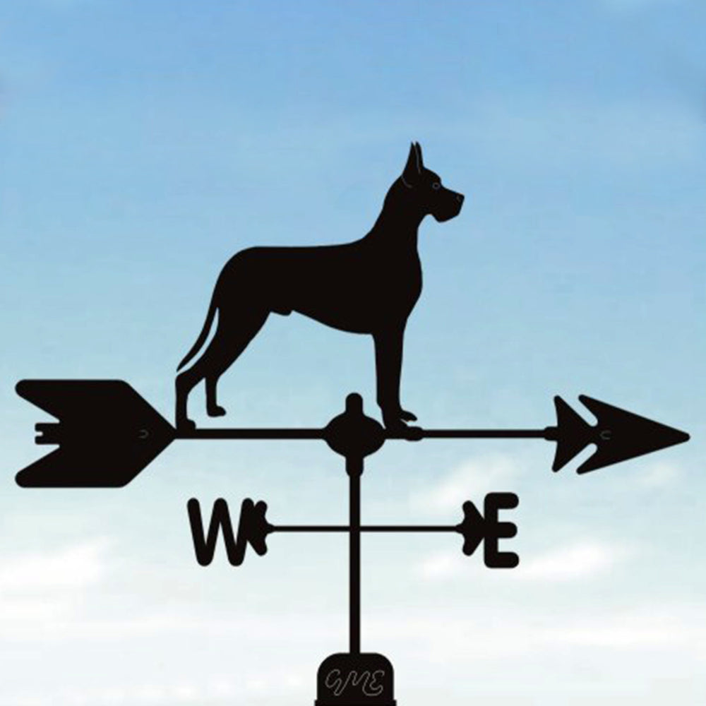 Cropped Eared Great Dane Silhouette Steel Weathervane