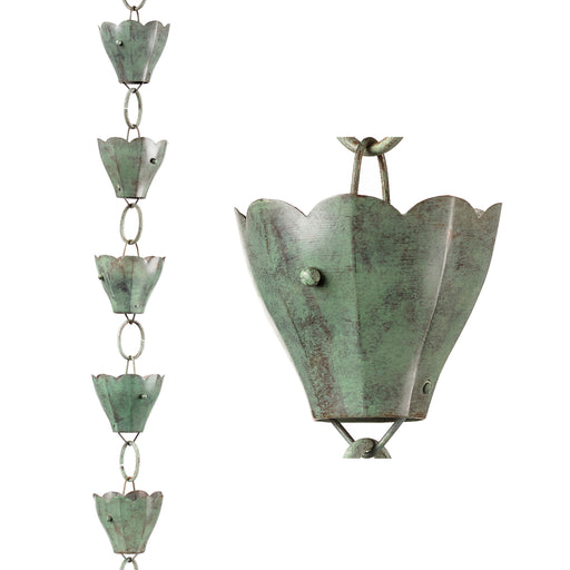 13 Cup Tulip Pure Blue Verde Copper 8.5 Foot Rain Chain Leader
