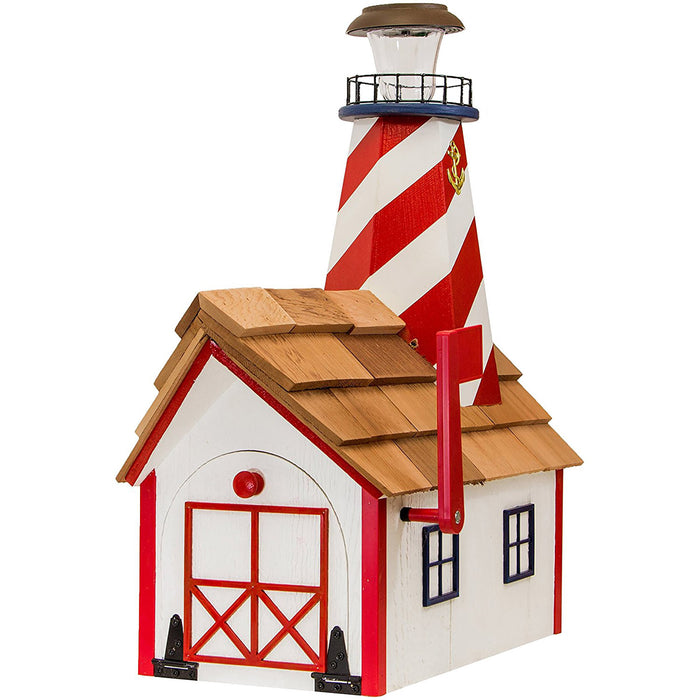 Patriotic Solar Lighthouse Amish Mailbox