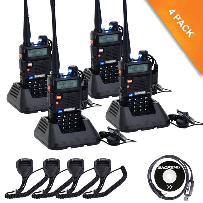 BaoFeng UV-5R 8W High Power Two Way Radio Walkie Talkie (4 PACK)