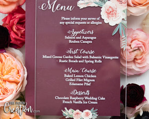 Blush Rose Acrylic Menu Card