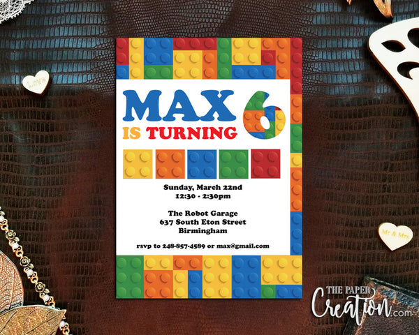 Building Block Digital Printable Birthday Invitation