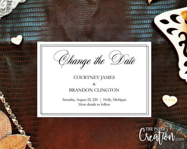 Change of Date Digital Invitation