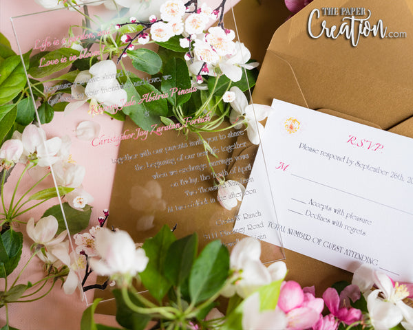 Cherry Blossom Acrylic Invitation