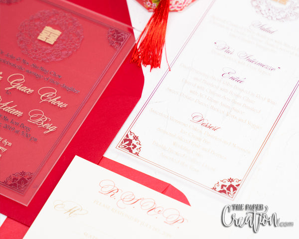 Chinese Double Happiness Acrylic Menu Card