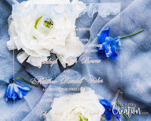 Dusty Blue Acrylic Invitation