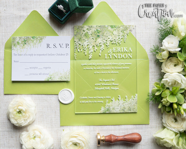 Greenery Acrylic Invitation