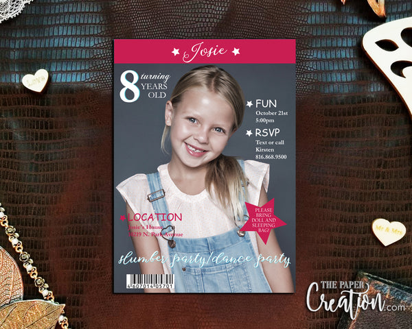 Girl Magazine Cover Printable Digital Birthday Invitation