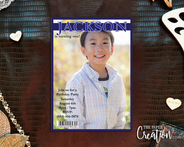 Boy Magazine Cover Printable Digital Birthday Invitation