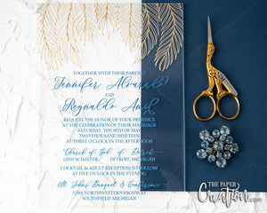 Gold Feather Acrylic Invitation