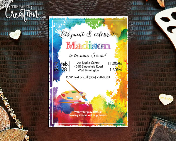 Art Party Printable Digital Birthday Invitation