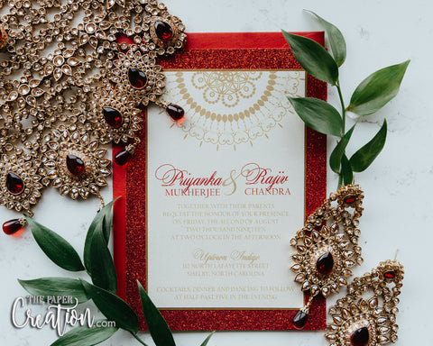 Ruby Red Glitter Invitation