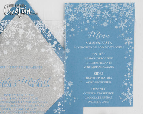 Snow Flake Menu Card