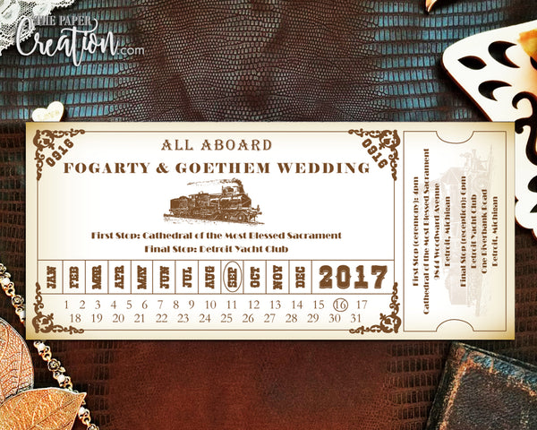 Train Ticket Pass Printable Digital Invitation