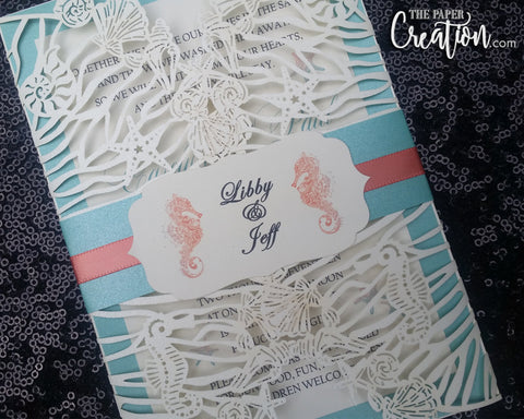 Beach Theme Destination Laser Cut Wedding Invitation, Gatefold Wrap Invitations, Sea Creatures Laser Cut Invitation, Birthday Lasercut