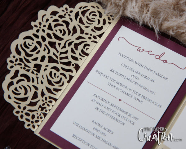 Rose Laser Cut Pocketfold Wedding Invitations, Pocketfold Invitations, Rose Laser Cut Invitation, Tri-fold Lasercut