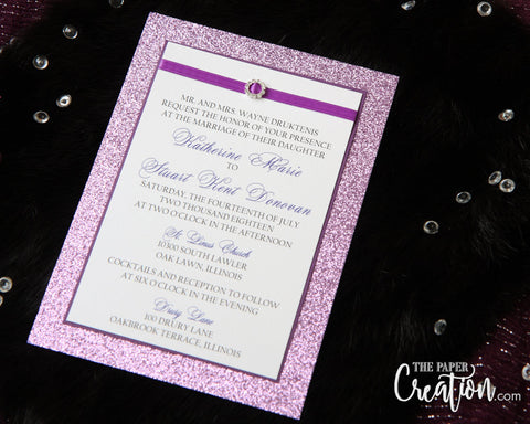 Purple Glitter Wedding Invitation