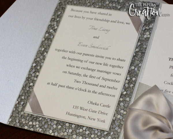 Silver Pebble Embossed Pocketfold Wedding Invitation, Satin Ribbon Bow Luxury Elegant Unique Pocket Invite