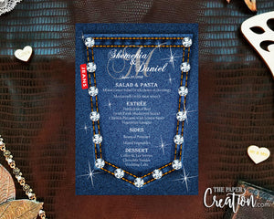 Printable Digital Denim Blue Jean Wedding Menu