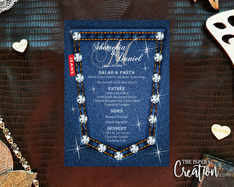 Printable Digital Denim Blue Jean Wedding Menu, Rustic / Shabby Chic / Country, Save the Date, Wedding Invite, Birthday, Invitation