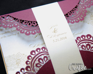 Doiley Laser Cut Wedding Invitation, Gatefold, Modern, Elegant Design Burgundy Gold & Champagne, Customize Personalised Invite