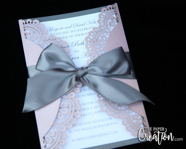 Doiley Laser Cut Foil Stamping Wedding Invitation