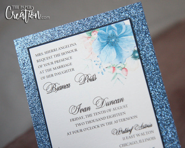 Blue Glitter Wedding Invitation, Glitter Invitation, Glitter Invite, Blue Watercolor Flower, Shimmery Invite, Calligraphy