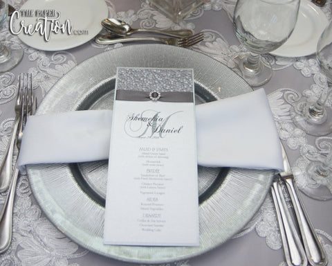 Silver Pebble Embossed Wedding Menu Card