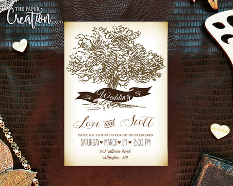 Rustic Tree Themed Printable Digital Wedding Invitation with RSVP, Backyard Outdoor Invites, Bridal Shower Save The Date Destination Invite