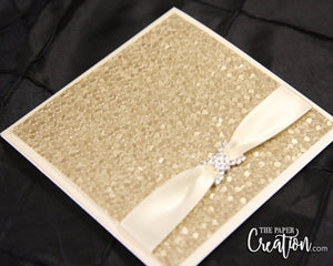 Champagne Pebble Embossed Wedding Invitation, Folded Pocket Invite, Rhinestone Buckle Luxury Elegant Unique Gold