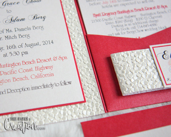 Ivory Pebble Embossed Wedding Invitation Suite in Red Pocketfold, Luxury Elegant Unique Handmade Pocket Invite