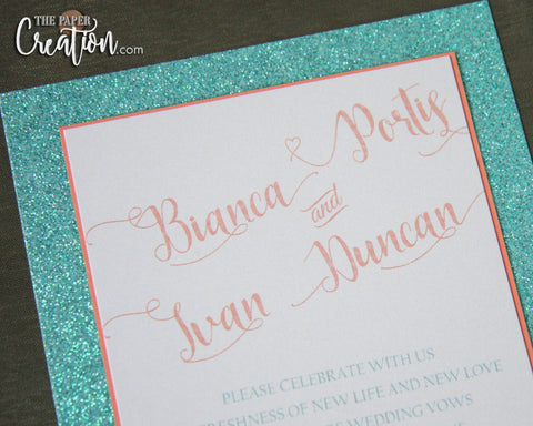 Aqua Sea Glitter Invitation