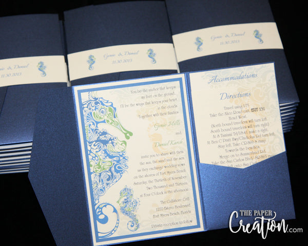 Jellyfish Pocketfold Wedding Invitation