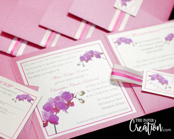 Pink Orchid Pocketfold Wedding Invitation