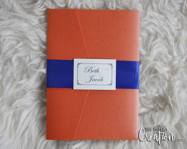 Orange Navy Wedding Invitation Pocketfold, Belly Band, Flourish Pocket Birthday / Shower Invite, Save the Date