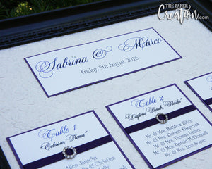 Wedding Seating Chart on Floral Embossed Handmade Paper with Rhinestone Buckles, Purple Luxury Elegant Calligraphy