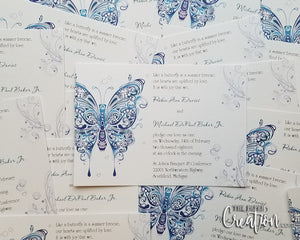 Fluttering Abstract Butterfly Wedding Invitation, Wedding Menu, Wedding Program, Event Invite, Save the Date