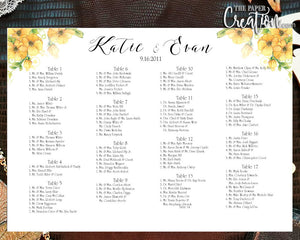 Wedding Seating Chart - Digital Files DIY, Printable, Calligraphy, Typography, Yellow Blooms, I Create and You Print