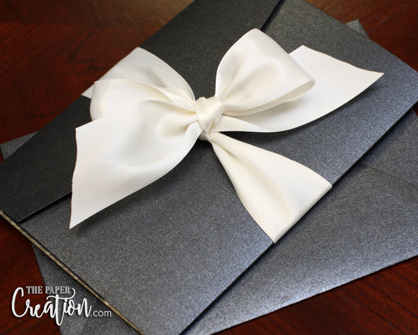 Ivory Pebble Embossed Wedding Pocketfold Invitation Suite in Ribbon Bow, Luxury Elegant Belly Band Pocket Invites, Handmade Paper