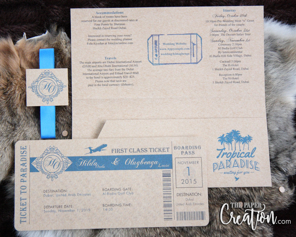 Boarding Pass Wedding Invitation on Kraft Paper, Destination, Ticket, Travle Theme, Airplane, Beach, Aruba, Mexico, Dominican, Cruise