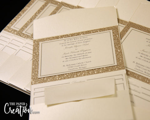 Champagne Pebble Embossed Wedding Pocketfold Invitation Suite with Tag, Luxury Elegant Pocket Invites, Handmade Paper