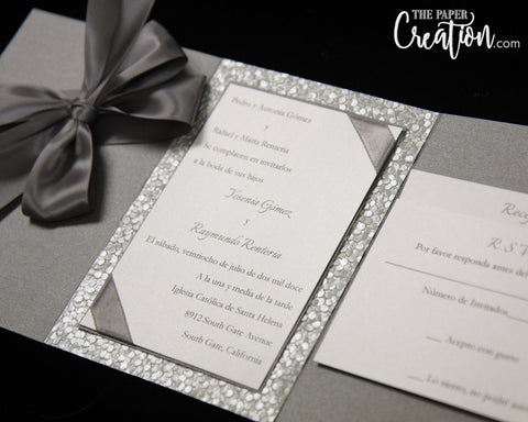 Silver Pebble Embossed Wedding Invitation