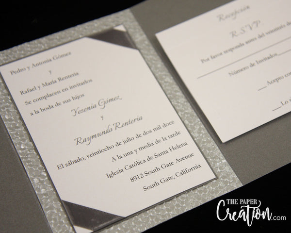 Silver Pebble Embossed Wedding Invitation Suite, Belly Band, Ribbon Bow, Luxury Trifold Invite, Pewter Dark Grey