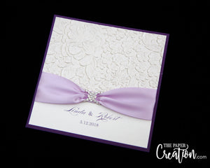 Ivory Pebble Embossed Wedding Invitation, Pocket Invite, Rhinestone Buckle Luxury Elegant Unique Purple Lavender, Handmade Paper