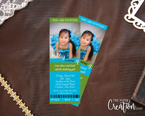 Twirl Dance Printable Digital Birthday Invitation, Photo Party Ticket Invite, Girl Dance Party, Personalized Event Ticket