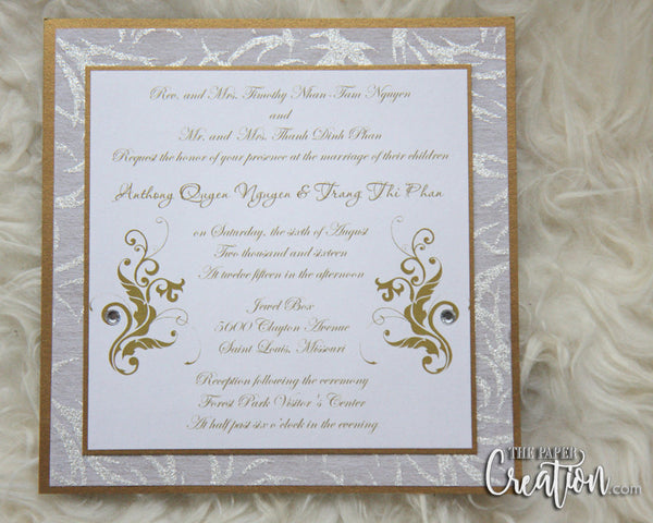 Gold Damask Swirl Handmade Wedding Invitation in Champagne Metallic Shimmer, Bling Antique Gold Luxury Invite